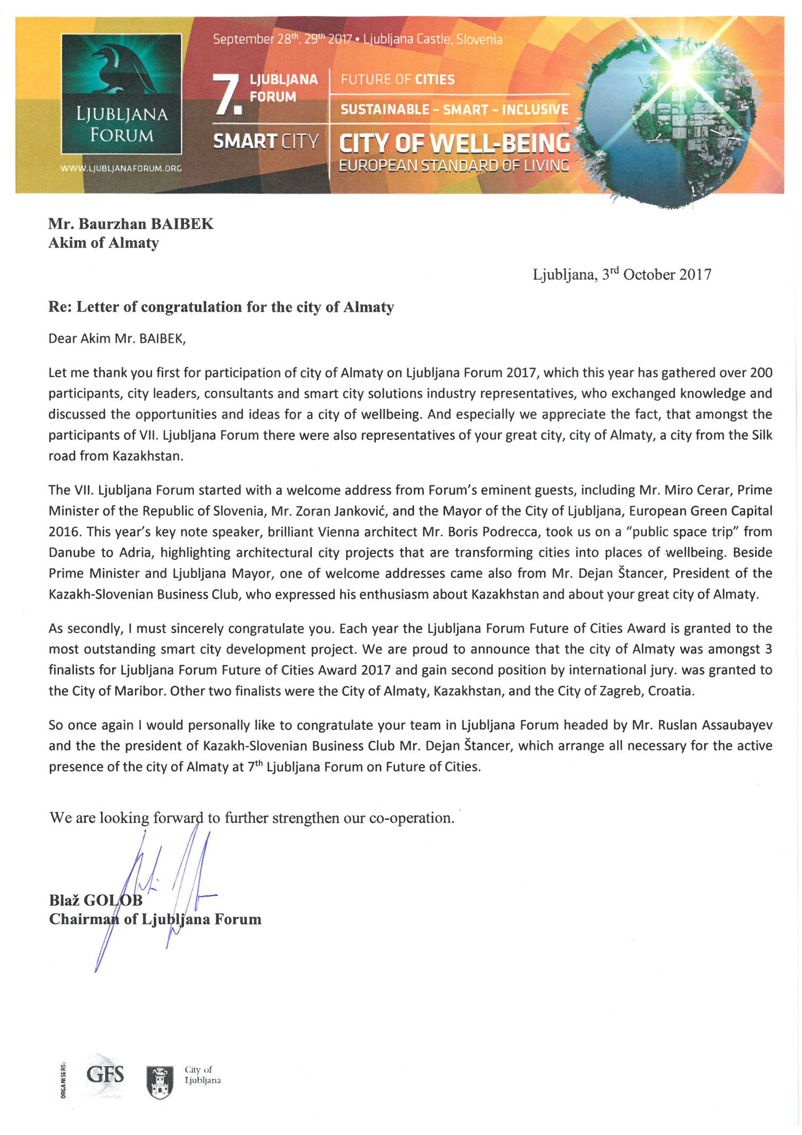 Letter of congradulation for the city of ALMATY